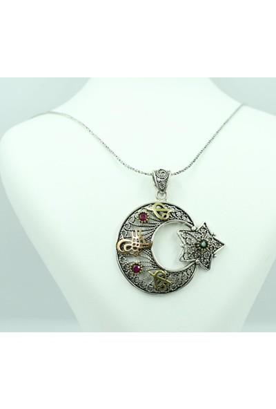 Aykat Ayyıldız Kolye Ucu Telkari Otantik Taşlı 925 Ayar Gümüş Bayan Boyunluk Uc-127
