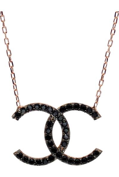 Minamis Silver 925 Ayar Cc Siyah Taşlı Bayan Gümüş Kolye