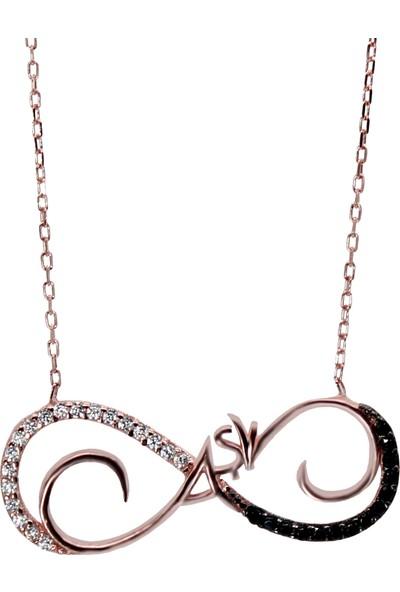 Minamis Silver 925 Ayar Gümüş Siyah Beyaz Taşlı Sonsuzluk Aşk Gümüş Kolye