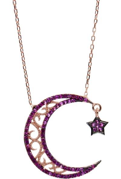 Minamis Silver 925 Ayar Ay Yıldız Mor Taşlı Bayan Gümüş Kolye