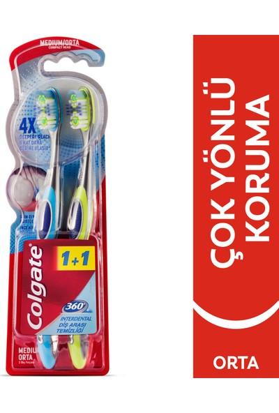 Colgate 360 Diş Arası Temizliği Diş Fırçası Orta 1+1