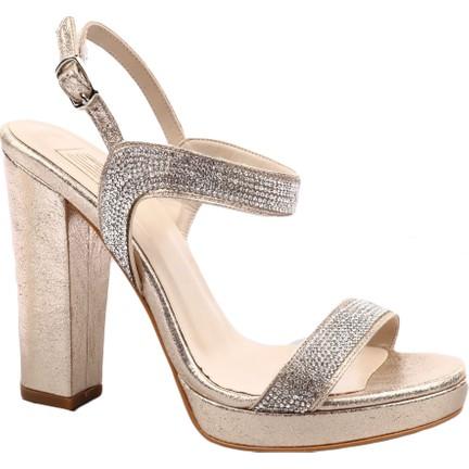 09dbbeca51d78 Dgn 589-536 Kadın Ankle Strap Lita Topuklu Silver Taşlı Abiye Ayakkabı Dore  Sıvama Taşlı
