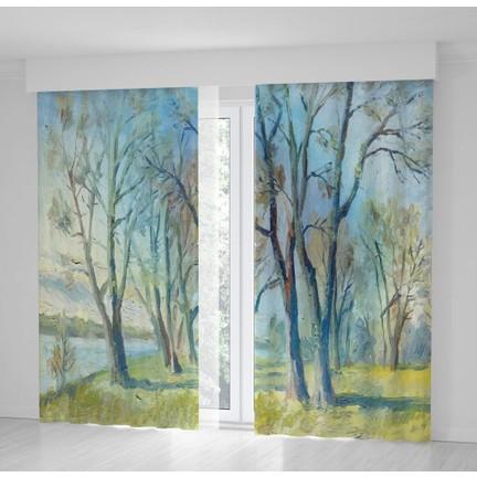 Henge Yağlı Boya Etkili Ilkbahar Ağaç Manzaralı Fon Perde