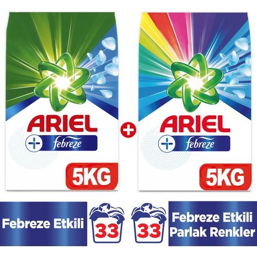 Ariel Plus Toz Çamaşır Deterjanı Febreze Etkili 5 kg + Parlak Renkler 5 kg