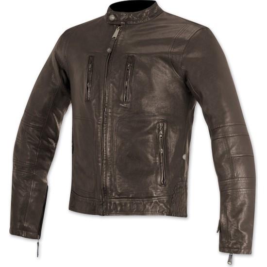 Alpine Stars Brass Leather Jacket Deri Motosiklet Montu