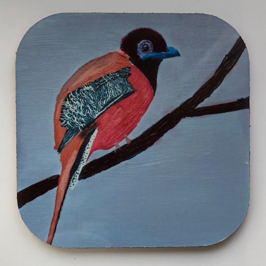 Artmuguet Bird İn lilac Sky Metal Yüzeyli Bardak Altlığı