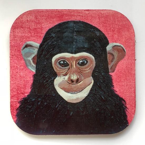 Artmuguet Happy Chimpanzee Metal Yüzeyli Bardak Altlığı