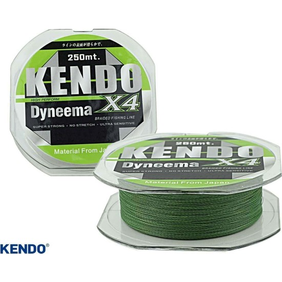 Kendo Dynema Braided High Green 4Örgü Olta Misinası 250Mt