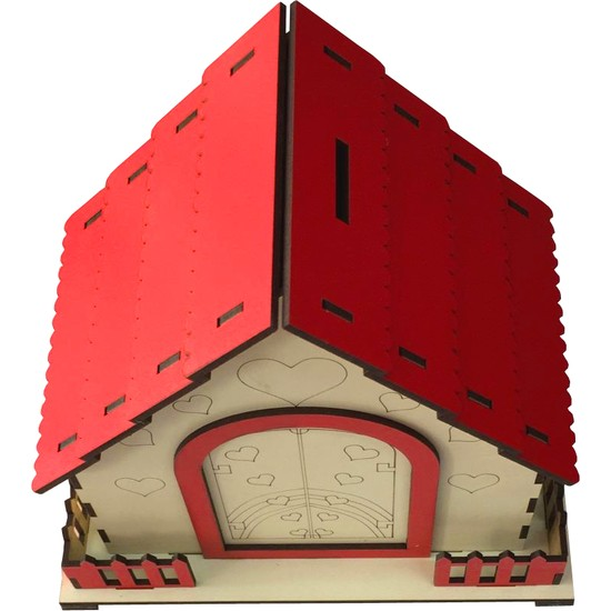 Hediye Kapında Ahşap Dekoratif Ev Kumbara
