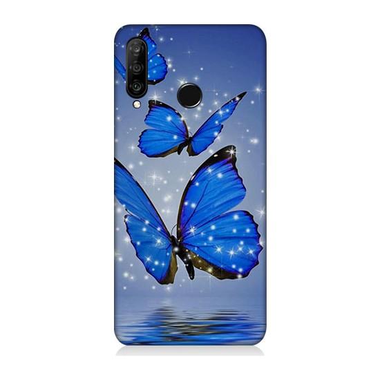 Teknomeg Huawei P30 Lite Mavi Kelebek Desenli Tasarım Silikon Kılıf