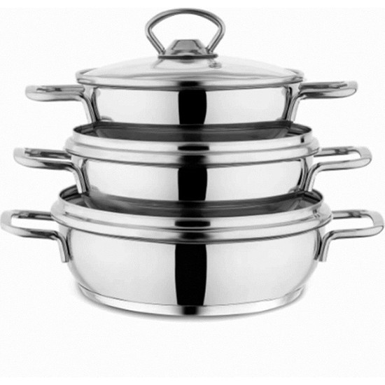 Schafer Cookhaus 6 Parça Çelik Sahan Seti-Gümüş