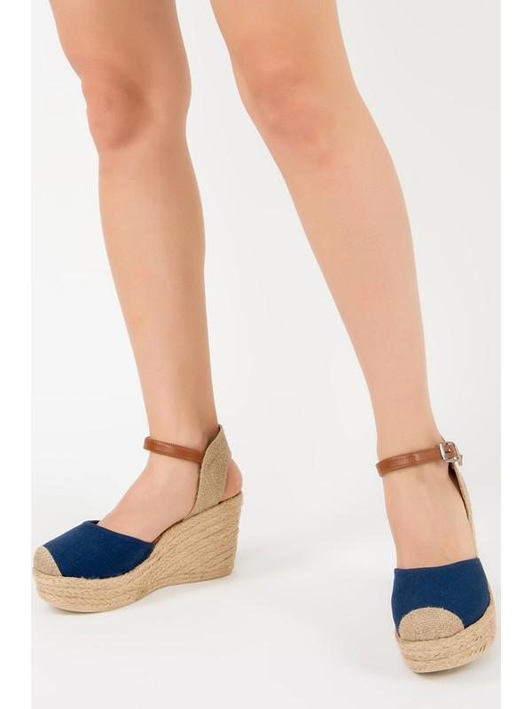 Fox Shoes Lacivert Kadın Dolgu Topuklu Ayakkabı F432899905