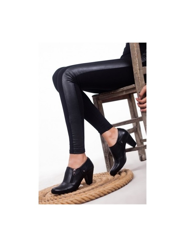 Tarçın Deri Günlük Siyah Kadın Topuklu Ayakkabı TRC50-1069
