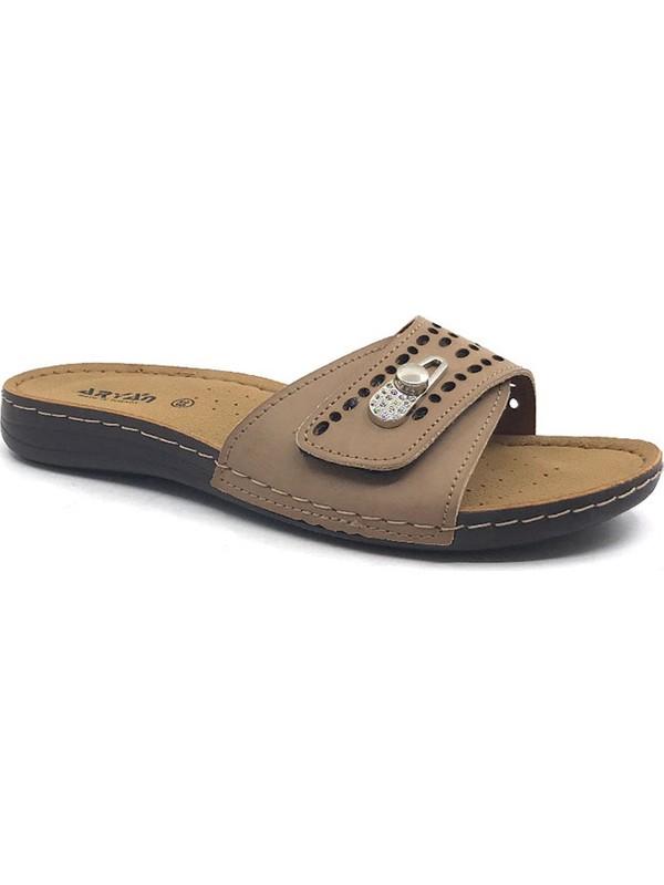 Aryan T-011-056 Bej Mantar Topuk Kadın Yazlık Terlik