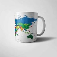 Muggkuppa Dünya Haritası Baskılı Kupa Bardak