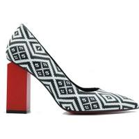 Lonar 264 Lonar Kadın Topuklu Ayakkabı Siyah-Beyaz