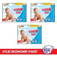 Goon Mutlu Bebek Külot Bez 3 Beden Aylık Ekonomik Paket 204 Adet