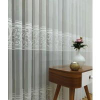Caserta Home Piazo Beyaz Pilesiz Ara Kortlu Şal Desenli Düz Tül Perde - 550 x 210 cm