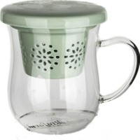 Ultraform Porselen Süzgeçli Kapaklı Oval Kupa Yeşil