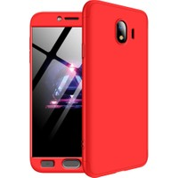 Kılıfreyonum Samsung Galaxy J6 Plus 360 Derece Tam Korumalı Kılıf Koruyucu Cam Kırmızı