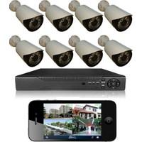 Picam 8 Kameralı Set Gece Görüşlü Güvenlik Kamerası 2mp Ahd Dvr Plastik Kasa