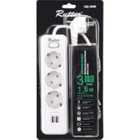 Rutter FRA-104U Anahtarlı 5V 2.1A USB Çıkışlı Akım Korumalı 3'lü Grup Priz
