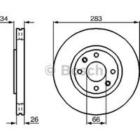 Bosch Fren Diski Ön 4D 283Mm 207 307 308 3008 Partner C3