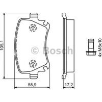 Bosch Fren Balatası Arka 105Mm Caddy III 1.4 04