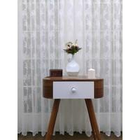 Caserta Home 1/3 Sık Pileli Seher Beyaz Demet Çiçek Desenli Örme Tül Perde - 300 x 260 cm