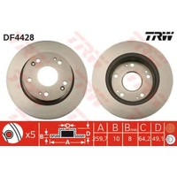 Trw Fren Diski Arka 5D 260Mm Accord VII 03