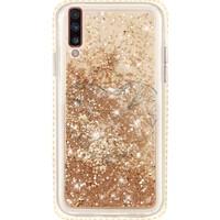 Cekuonline Samsung Galaxy A50 Kılıf Gold-Altın Simli Sulu Sıvılı Kenarları Taşlı Tasarım Silikon Arka Kapak - Heart2 Stok8