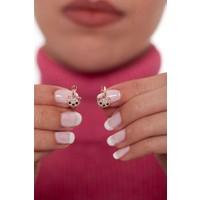 Ninova Silver Kedi Model Rose Kaplama Gümüş Çocuk Küpesi