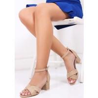Tarçın Hasır Deri Kadın Topuklu Sandalet Trc130-7063