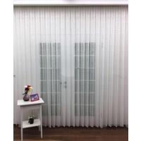 Caserta Home 1/2,5 Orta Pileli Omeron Serpme Şantuk Beyaz Tül Perde - 150 x 150 cm