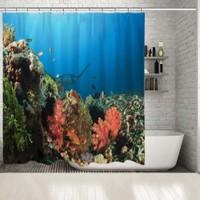 Henge Sualtı Okyanus Vatos Balık Desenli Mavi Duşperdesi