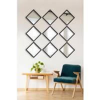 Tablo Center 9 Parçalı Siyah Çerçeveli Ayna 24 cm x 24 cm