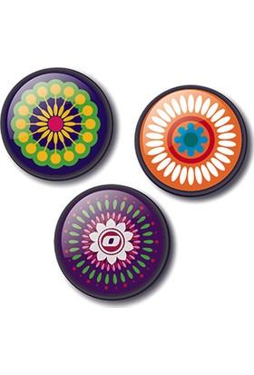 Nikidom Roller Çanta Için 3.Lü Rozet Aksesuar Mandala Desen