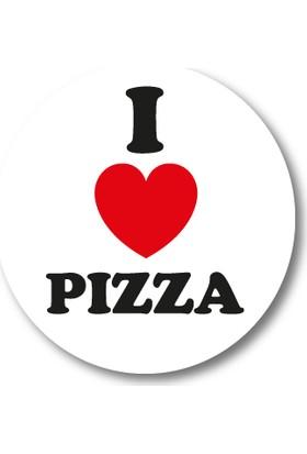 Cici I Love Pizza Sticker Etiket Duvar Süsü 3 x 3 cm 20li