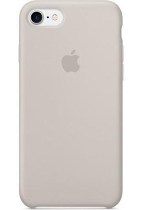 Casethrone Apple iPhone 8 Lansman Bej Silikon Kılıf Kauçuk Arka Kapak