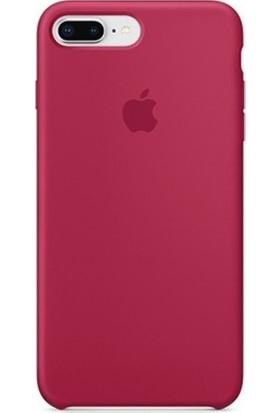 Casethrone Apple iPhone 8 Plus Lansman Bordo Silikon Kılıf Kauçuk Arka Kapak