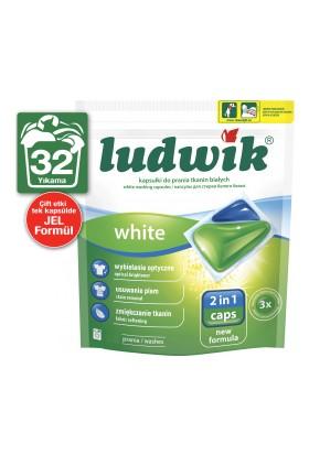 Ludwik İkisi Bir Arada Sıvı Kapsül Çamaşır Deterjanı Beyazlar İçin 32 Yıkama