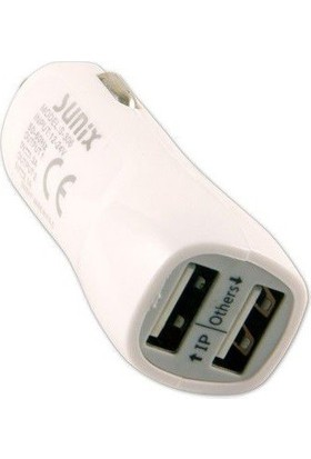 Syronix Araç İçi Cep Telefonu Şarj Aleti 3.1 Amper 2 USB Çakmaklık Şarjı Beyaz