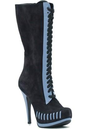 Tuğrul Ayakkabı 210 Özel Tasarım Kadın Çizme Lacivert.Nubuk