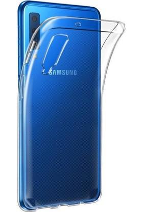 Aktif Aksesuar Samsung A7 2018 Şeffaf Silikon Kılıf Ultra Ince Lens Korumalı Tıpalı Kapak