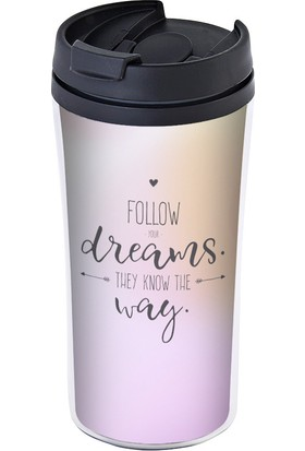 Allmug Iç-Dış Plastik Termos- Follow Your Dreams
