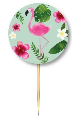 Pasta Cumhuriyeti Flamingo Yaz temalı Kürdan 10lu