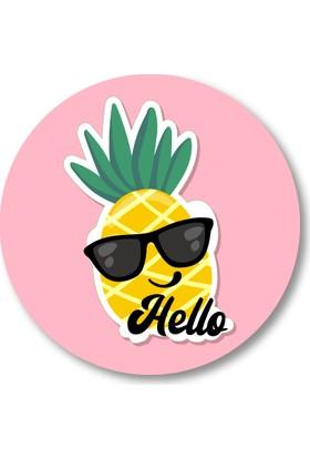 Cici Ananas Sticker Etiket 3x3 cm 20li