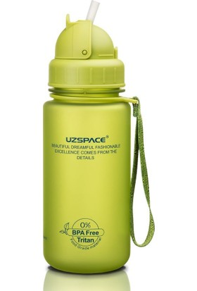 Uzspace 400 ml Tritan Yeşil Çocuk Matarası - Silikon Pipet Ağızlık