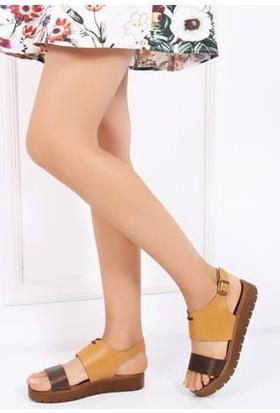 Tarçın Hakiki Deri Havana Günlük Kadın Sandalet Ayakkabı Trc70-0093