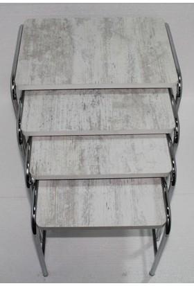 Şahbaz Metal Ayaklı 4'lü Zigon Sehpa